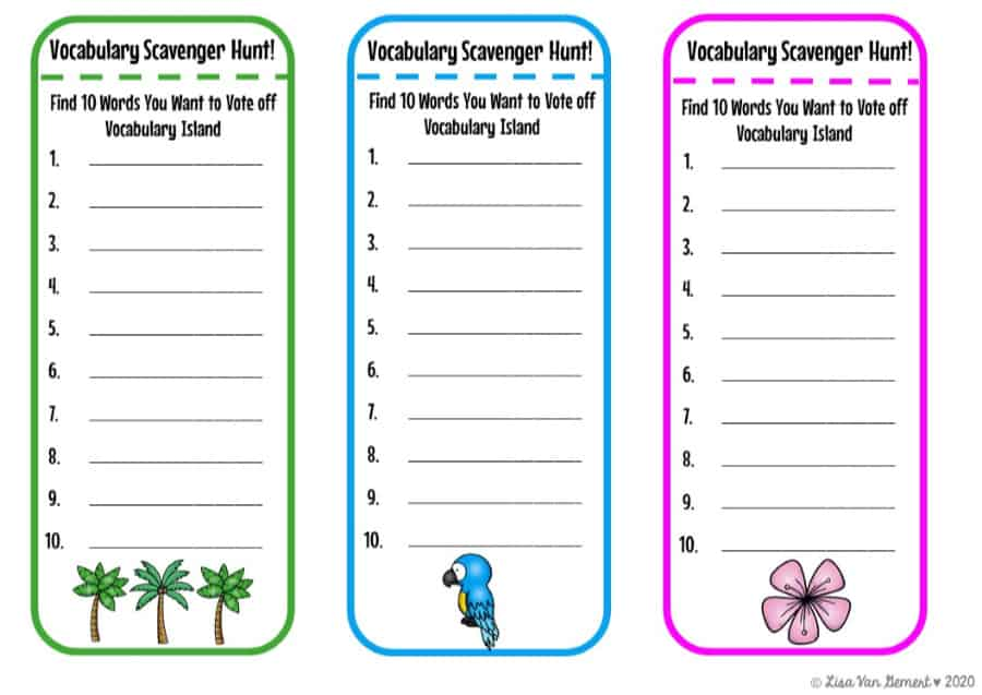 vocabulary scavenger hunt bookmarks with tropical island feel