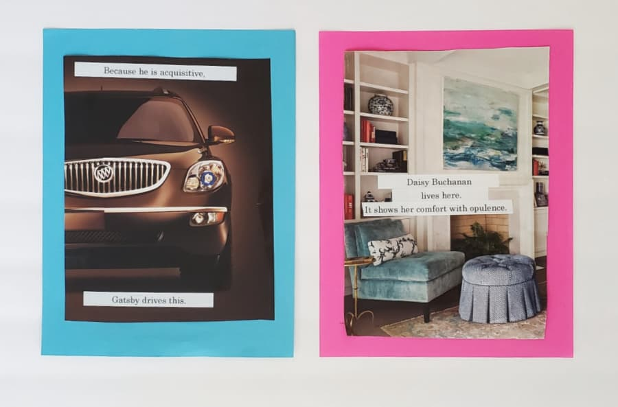 lexus car and beautiful home interior with labels referring to Gatsby and Daisy Buchanan