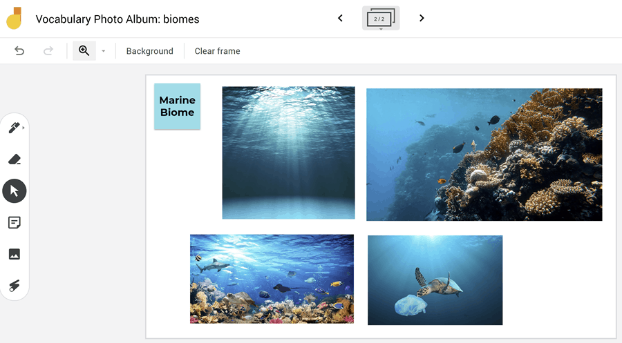 jamboard with pictures of the ocean
