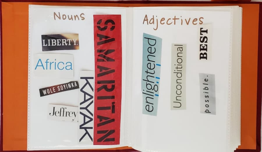 photo album with nouns and adjectives
