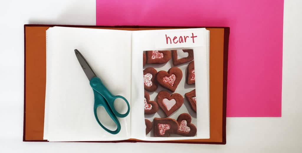 """vocabulary photo album with word """"heart"""" and picture of hearts"""