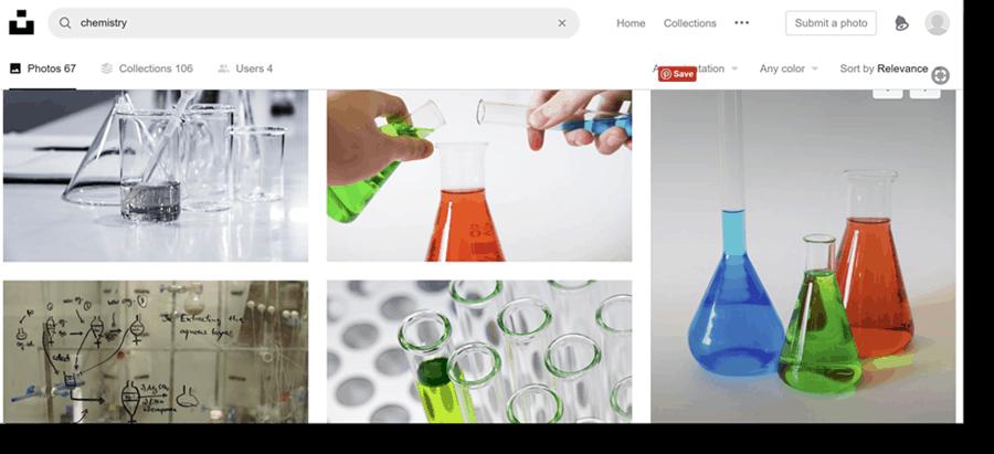 image capture of search for chemistry on unsplash website