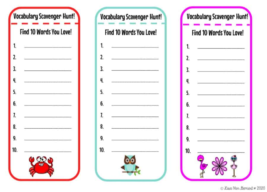 vocabulary scavenger hunt bookmarks with animals