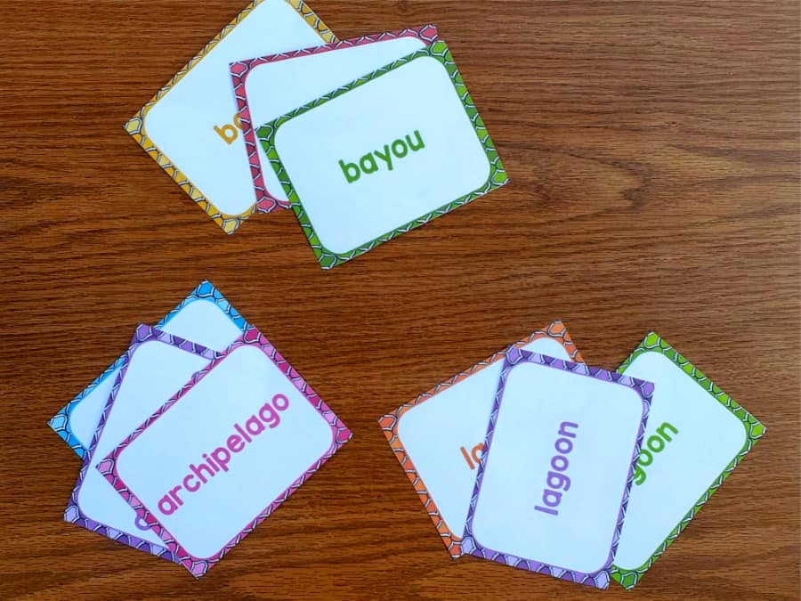 sets of vocabulary word cards lying on a table