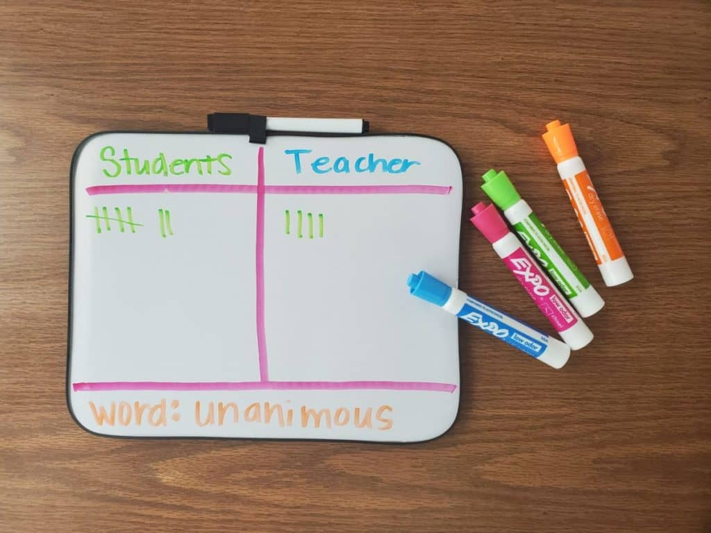 dry erase board with vocabulary tally marks on it