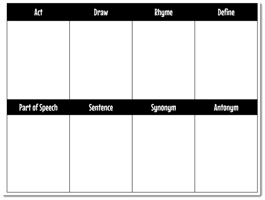 eight section chart with titles for tally marks
