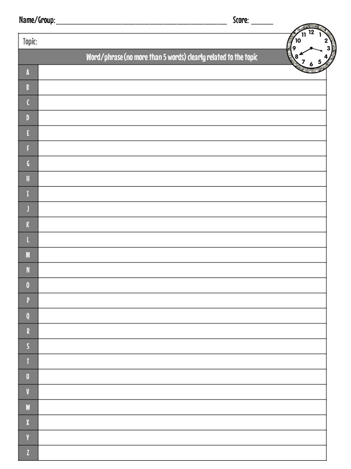 response sheet with letters of the alphabet for categories vocabulary relay game