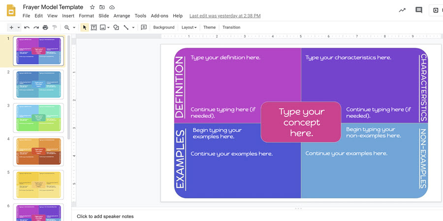 colorful frayer model template in google slides