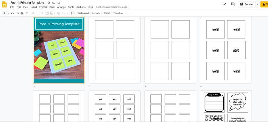 Google slidedeck multi slide view showing template slides for printing on postits