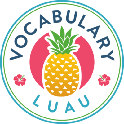 pineapple with two hibiscus and vocabulary luau in a cirle